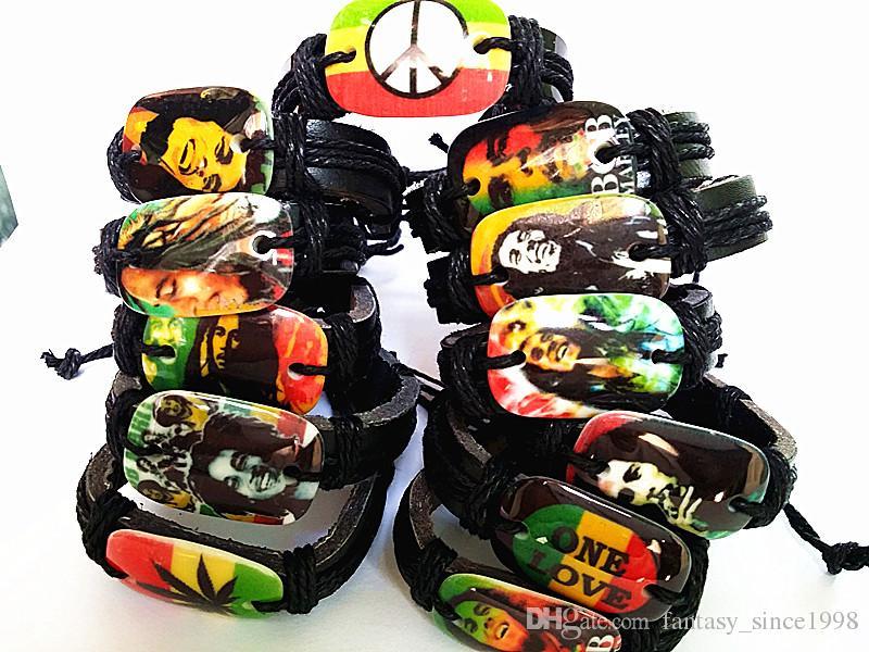 Brand new 24 pezzi Bob Marley Giamaica Reggae Rasta Fashion Black Leather Braccialetti per uomo donna all'ingrosso