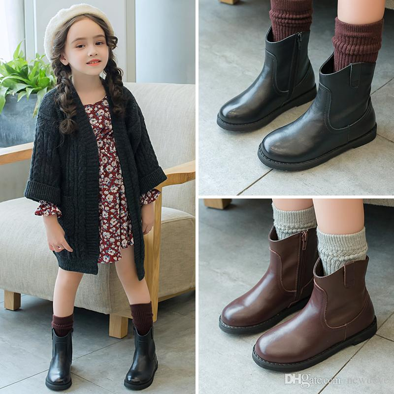 Lovely Round Toe Black Coffee Color Kids Shoes In Stock Leather Girls\u0027  Boots Children Formal Wear Discount Girls Shoes Flower Girl Shoes Canada  From