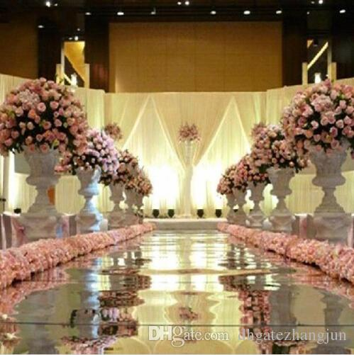 10m per lot 1m Wide Shine Silver Mirror Spid Runner For Romantic Wedding Favour Party Decoration Free Shipping