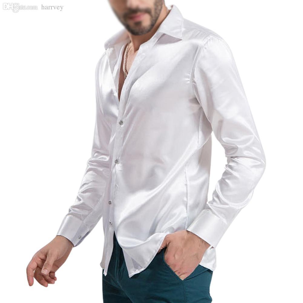 Wholesale-New Arrival Custom Made Any Colors Elastic Silk like Satin Men Wedding Shirt Groom Shirts Wear Bridegroom Slik Shirt For Men