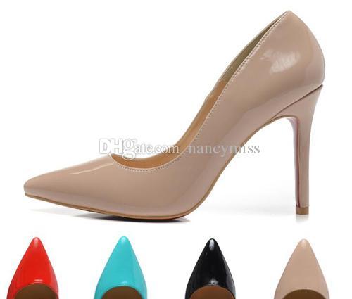 Damen Schwarz Nude Lack Spitz Damen Pumps, 100mm Designer Luxus Rote Untere High Heels Schuhe für Damen Hochzeit Schuhe
