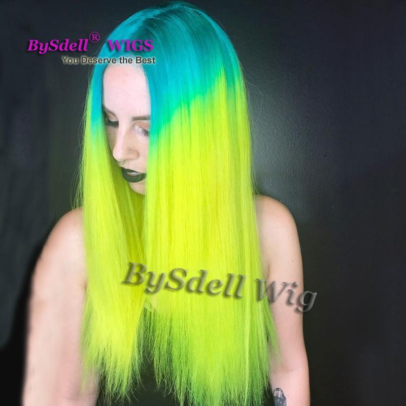 Długie proste niebieskie Ombre Neon Zielony Kolor Włosów Peruka Syntetyczne Odporne na ciepło Remy Remy Włosy Koronki Przodu Peruki Dla Białego Kobiet