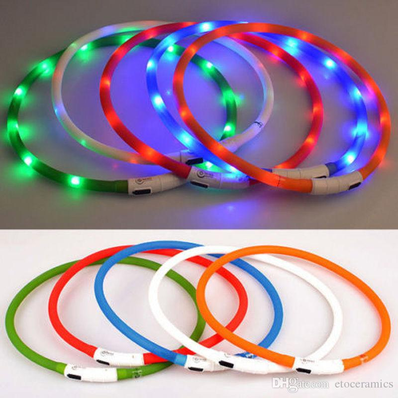 Cheap Común USB Charger Pet Dog Collars Mejores Collares Collares básicos USB Pet Collares ligeros Adjustable 6colors LED intermitente collar de perro