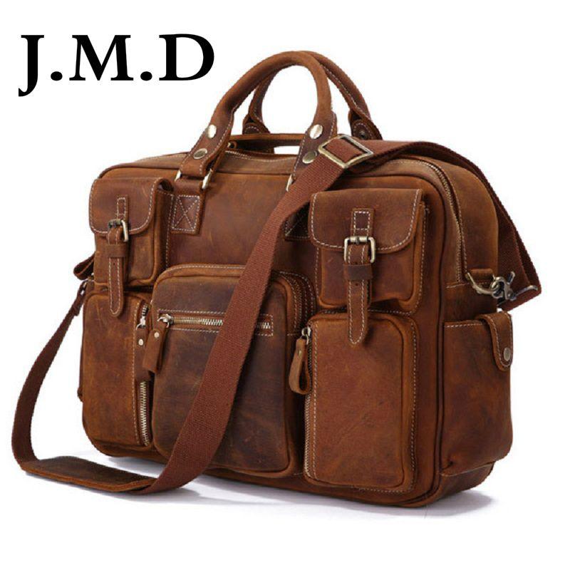 All'ingrosso-J.M.D vendita calda 100% vera pelle Rare Crazy Horse Leather Cartella da uomo Borsa per laptop Borsa tote Borsa a tracolla Borsa 7028