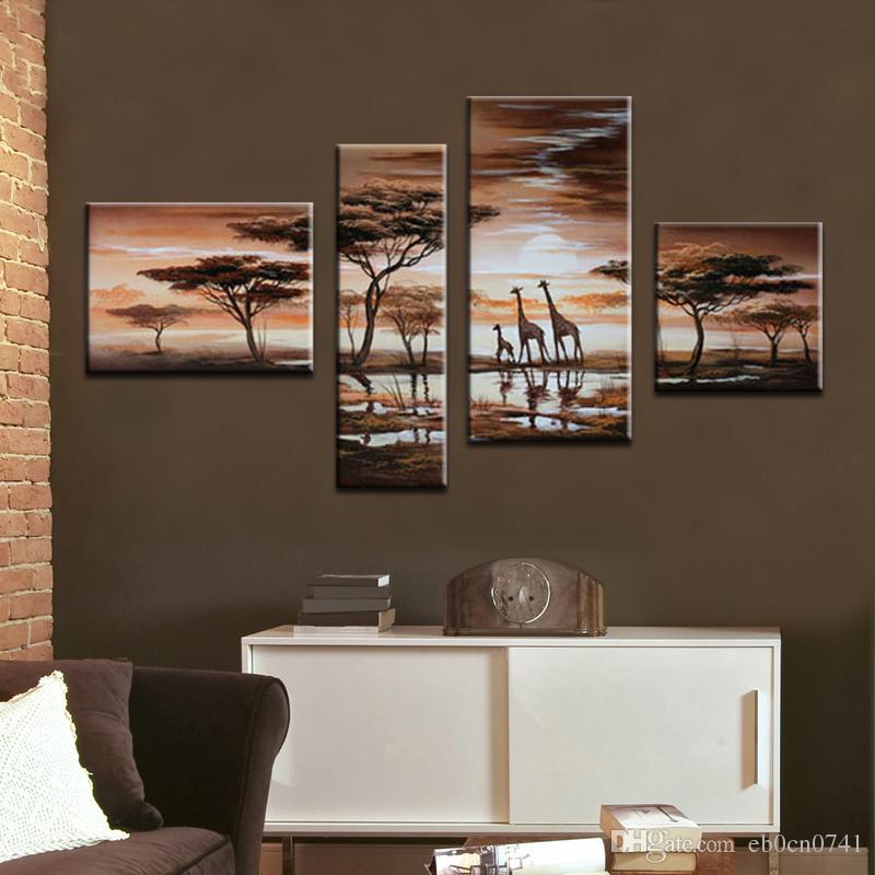 100 % hand-painted 현대 추상 미술 캔버스에 오일 페인팅 아프리카 동물 기린 벽에 사랑스러운 감정