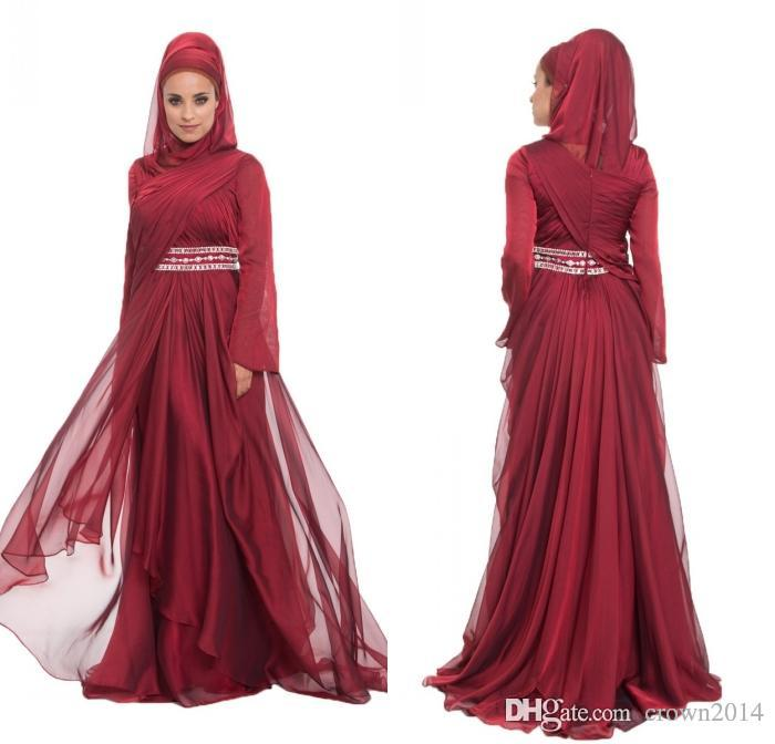 Burgundy Chiffon Formal Long Maxi Lace Appliques Evening Dresses With Hijab Long Sleeve 2019 Beaded Pleated Layered Ruffle Arabic Muslim Dre