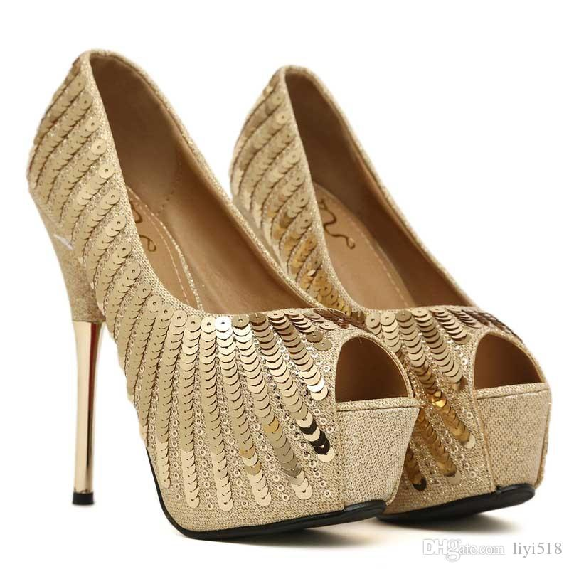 classic fit first rate new products 2018 High Heels Gold Sequins High Heels Fish Mouth Shoes ...