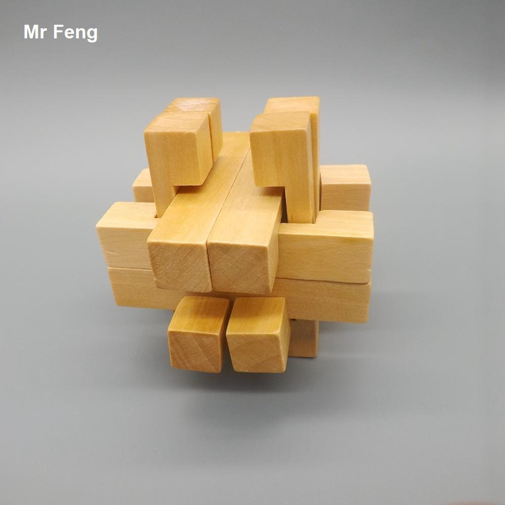 Fun Inteligência Enigma Cérebro Treinamento Brinquedo Crianças Gaiola De Madeira Kong Ming Bloqueio