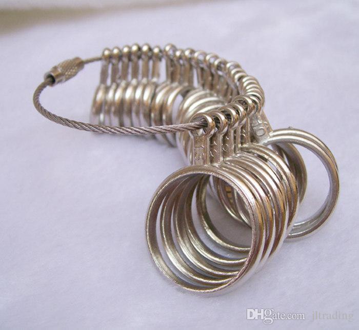 Partihandel Gratis frakt Silver Japanska US Ring sizermätare Användbar standard metall smycken storlek mätning finger sizer verktygsutrustning