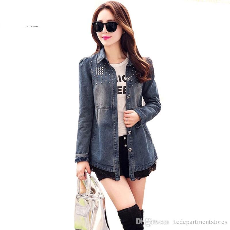 Mulheres Outono Denim Jaquetas Rendas Moda Rebites Drapeado Mangas Compridas Botão Magro Bolsos Jeans Casacos Plus Size XXL