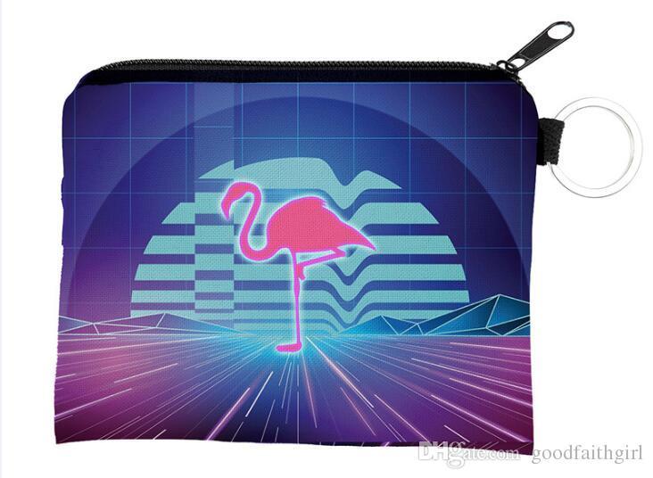 50pcs New arrival 3D printing flamingo Children cute small Wallet Zipper Case Coin change Purse key pouch mini bag card holder