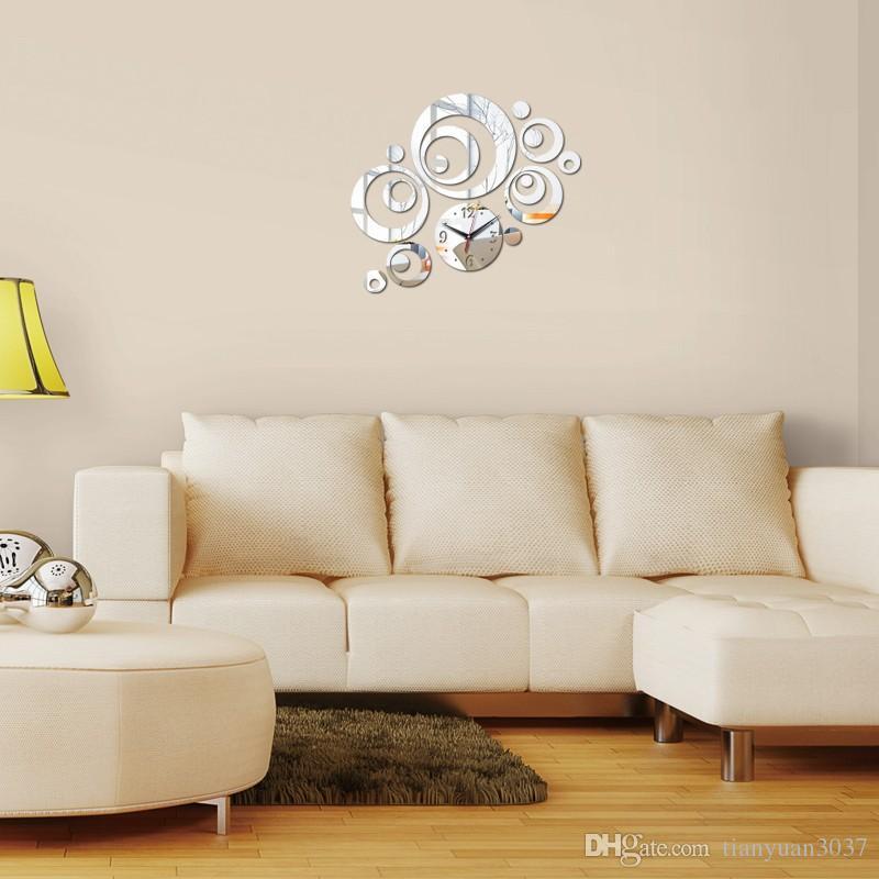 2016 vendita diretta bambino reale specchio acrilico adesivi murali novità moda orologio al quarzo soggiorno nuovo orologio spedizione gratuita TY1925