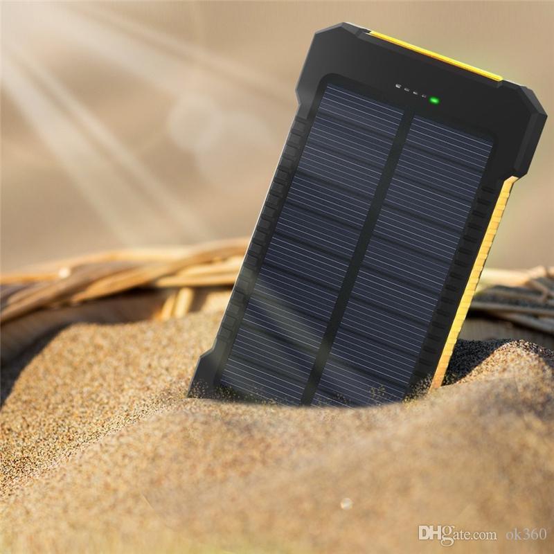 20000MAH Universal 2 Port USB Port Solar Power Bank Chargeur Sauvegarde externe Batterie LED Lampe de camping en plein air pour chargeur de téléphone portable