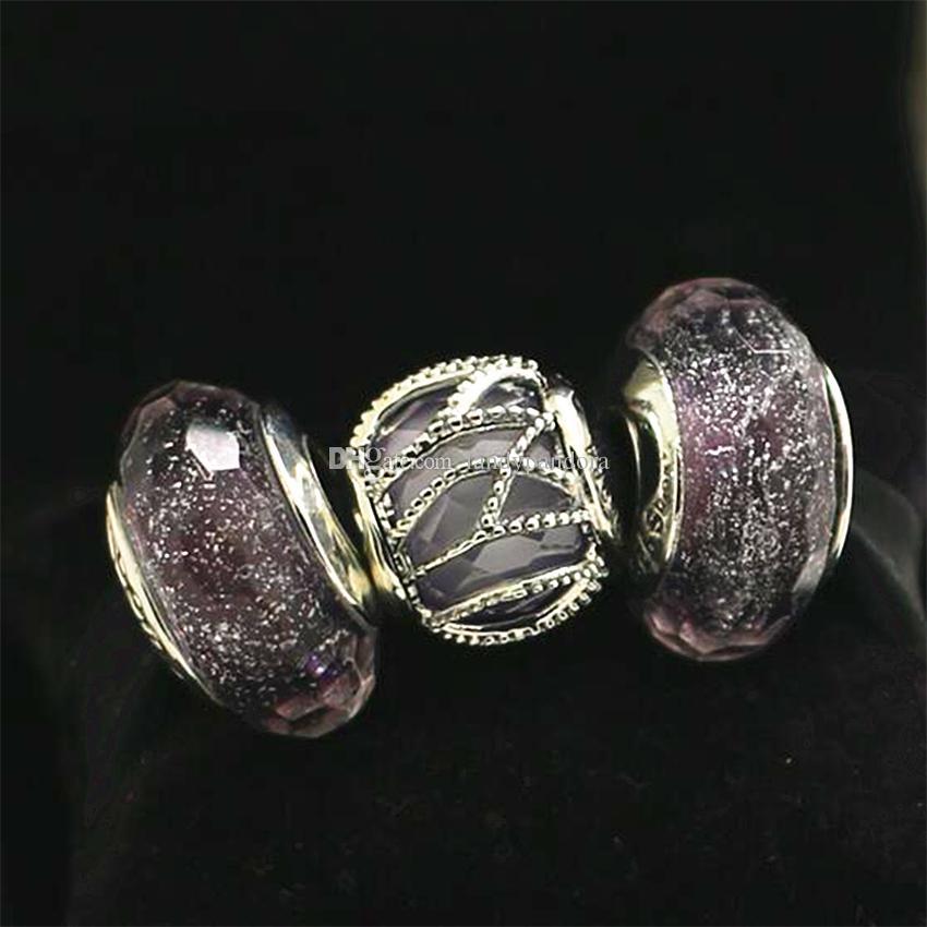 Autentisk S925 Sterling Silver Charm Bead Set Passar European Pandora Charm Armband Halsband Kvinnor Smycken Set