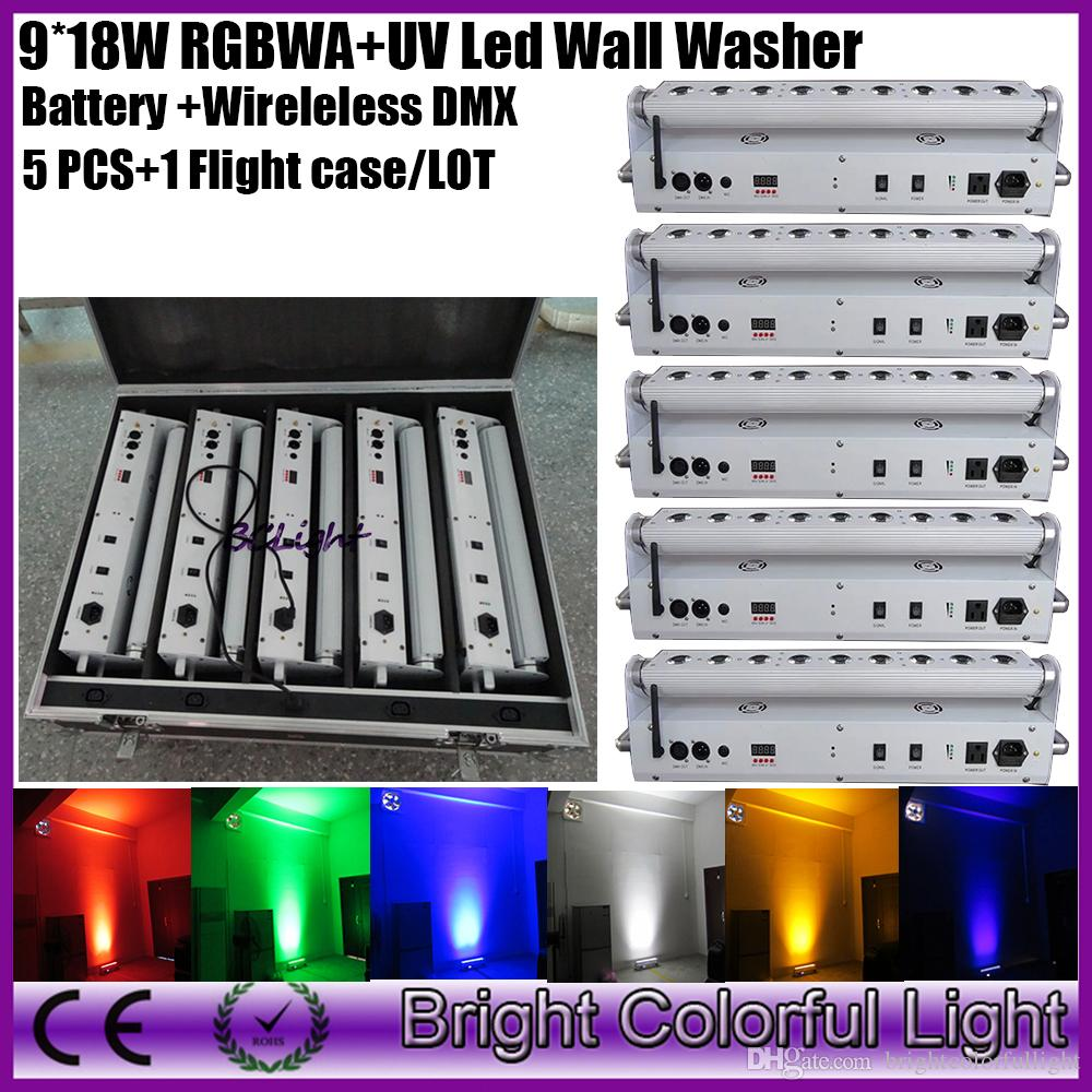 (5 lights+1 fly case/lot) China led effect stage light 9*18w wedding backdrop wireless dmx led wash uplighting