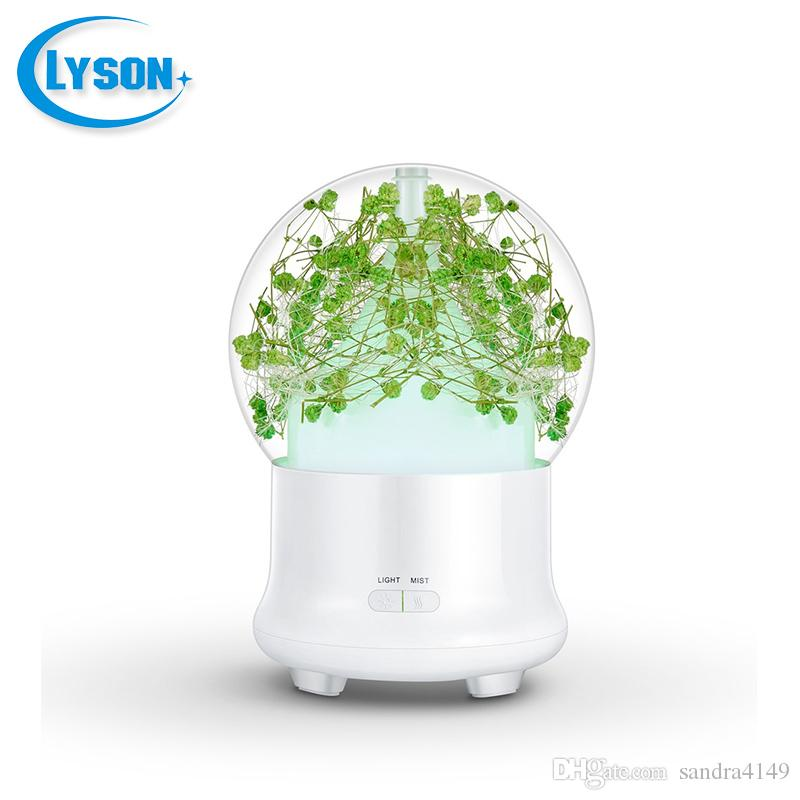 Preserved Fresh Flower 7 Color-changing LED Ultrasonic Aroma Air Humidifier Mini Essential Oil Diffuser 100ml Baby's Breath Green
