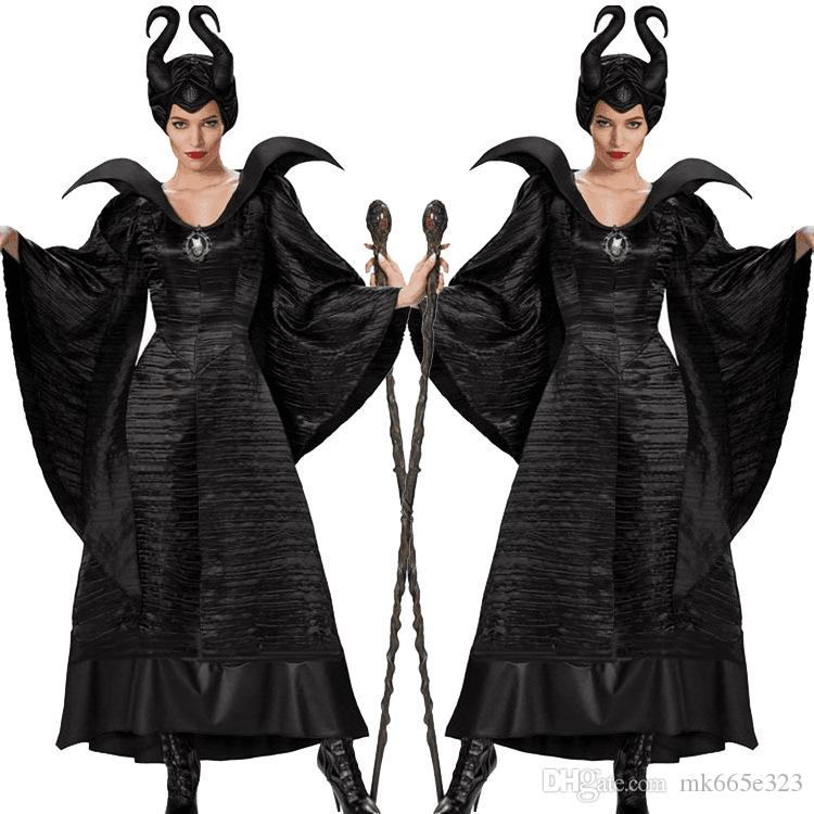 Sleeping Curse Costumes Adlut Maleficent Cosplay Halloween Costumes For Women Female Witch Cosplay Black Christening Gown Costume Halloween Themed