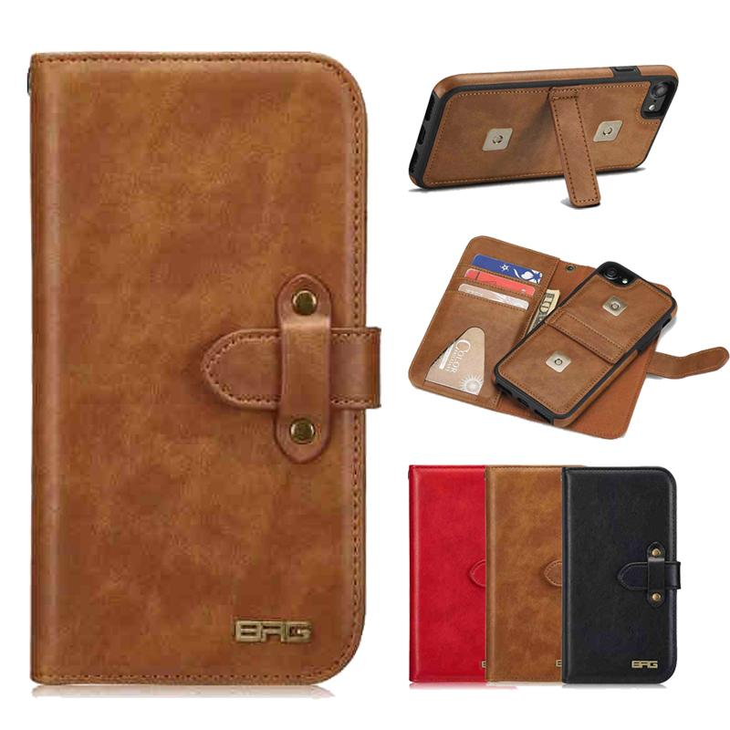 new arrival bbd8c a2ff0 Retro Wallet Leather Case For IPhone X 10 8 7 6S Vintage Luxury Stand Book  Phone Cover Detachable For IPhoneX IPhone8 Cell Phone Cases Wholesale ...