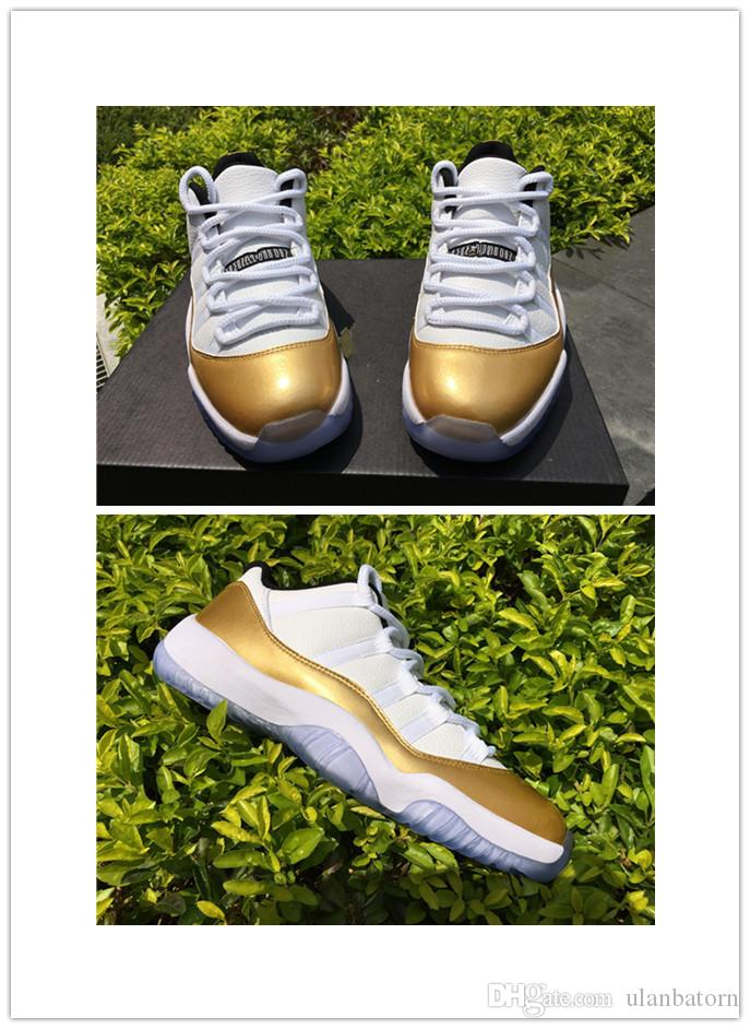 2018 new 11 Cap and Gown Prom Night low mens sport shoes white gold 11s XI Closing Ceremony hot online mens size 46US