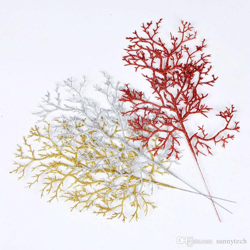 Weihnachtsbaum Halle verlässt Zubehör Gold Silber künstliche Zweige Metasequoia Sequoia Home Party Dekoration Freies Verschiffen ZA5336