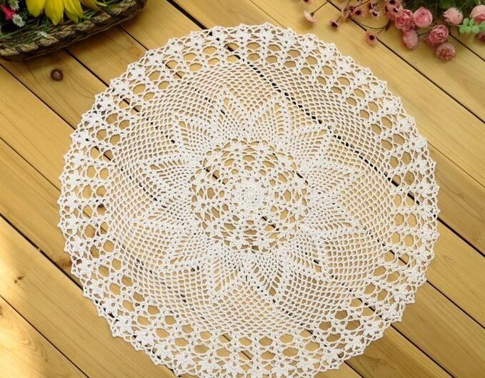 Wholesale- 50CM HOT lace cotton round table place mat cloth pad crochet placemat Cup glass doilies mug holder Kitchen tableware