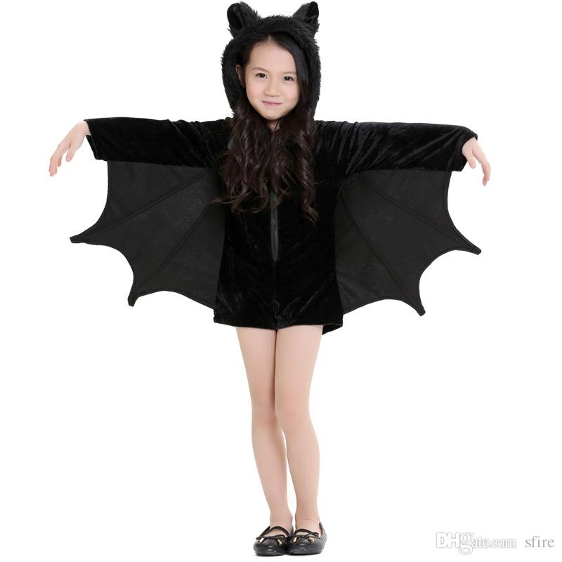 Unique Halloween Costumes For Kids Girl.New Child Animal Cosplay Cute Bat Costume Kids Halloween Costumes For Girls Black Zipper Jumpsuit Connect Wings Batman Clothes Kid Costumes Party
