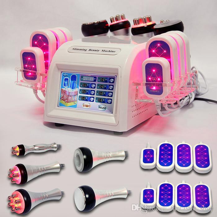 6-1 lipoaspiração ultra-sônica 40k Radio Fat cavitação Freqüência Redução RF Face Care Fat vácuo Máquina LipoLaser corpo emagrecimento Cavi Lipo
