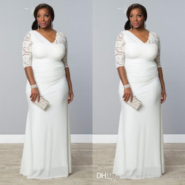 Neueste Plus Size Brautkleider ausgestattet Mantel Spalte asymmetrischen Stoff V-Ausschnitt Illusion Lace Halbarm geraffte Chiffon Brautkleider