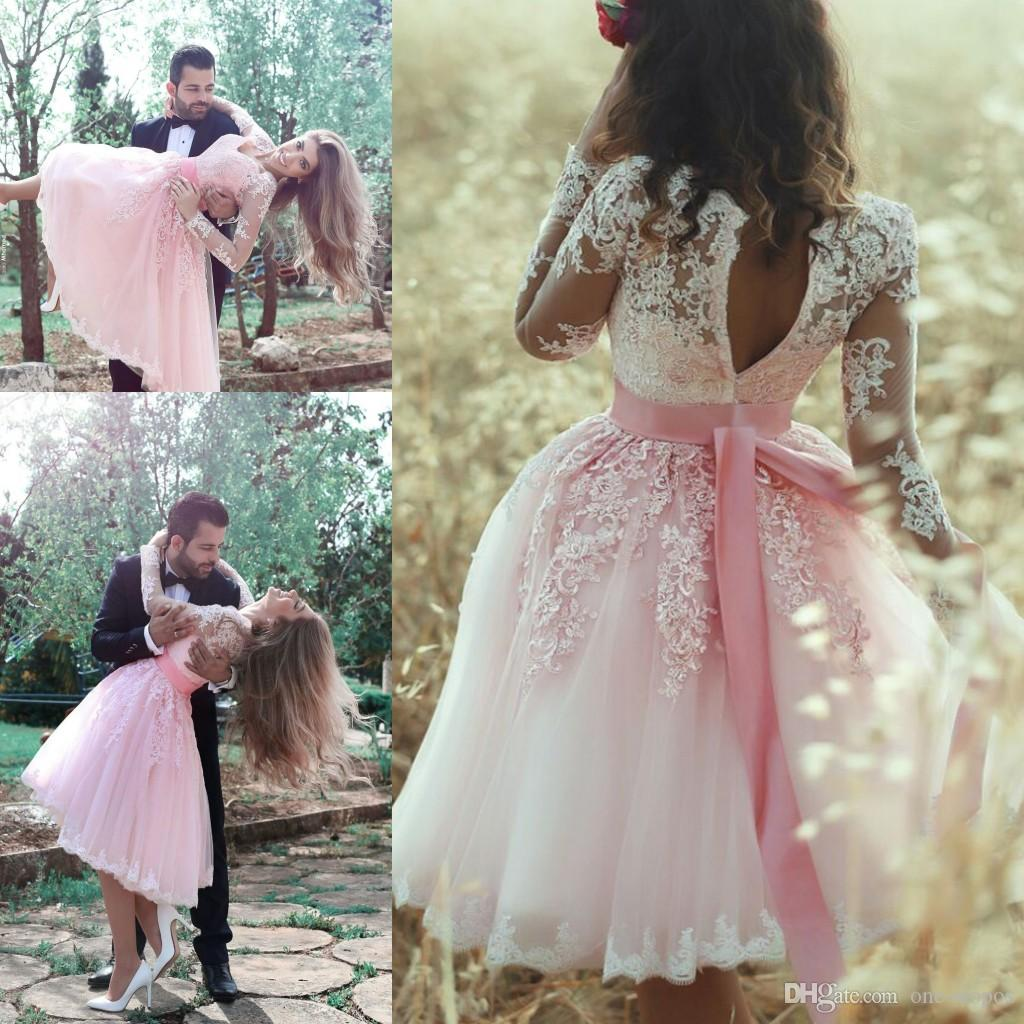 Short Pink Tulle Lace Cocktail Dresses V Neck Sheer Long Sleeves Homecoming Party Gowns Ribbon Sash Sweet 16 Dress