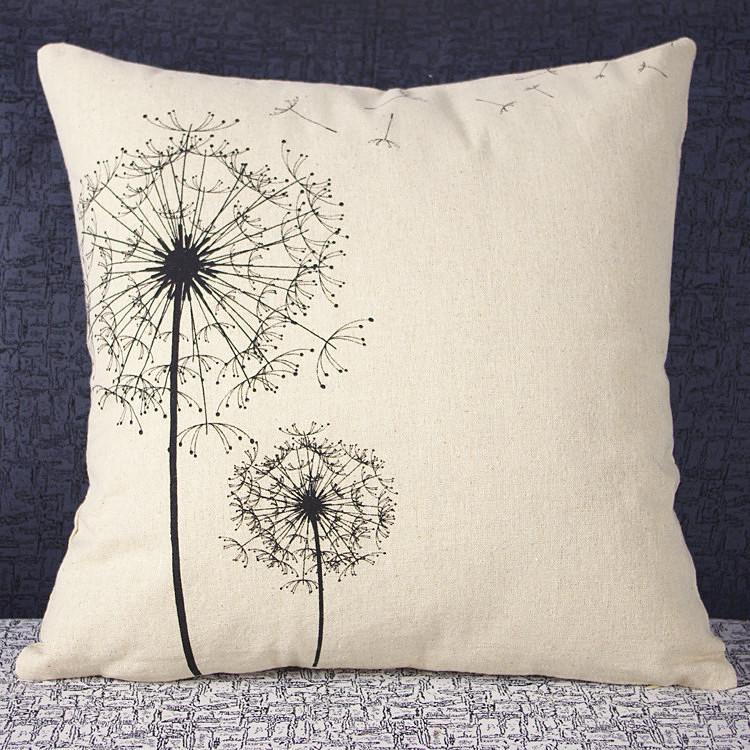 Dandelion Pillow Cover Simple Small Fresh Dandelion Cotton Linen Throw Pillow Cover Cushion Cover Pillowcase New Arrival 20PCS