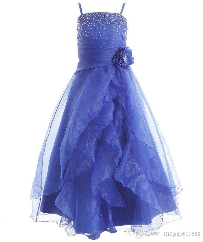 Girl's Popular Beautiful Cascading Crystal Organza Rhinestone Girls Pageant Dresses Formal Kids Party Prom Gowns Flower Girls Dresses