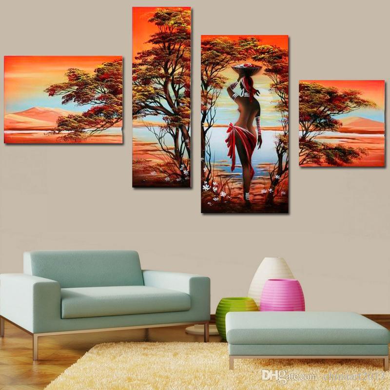 Peinture à l'huile abstraite moderne africaine Nu Nu Sexy Femmes Arbre Sur Toile 4 Panneau Art Set Home muraux décoratifs pour le salon