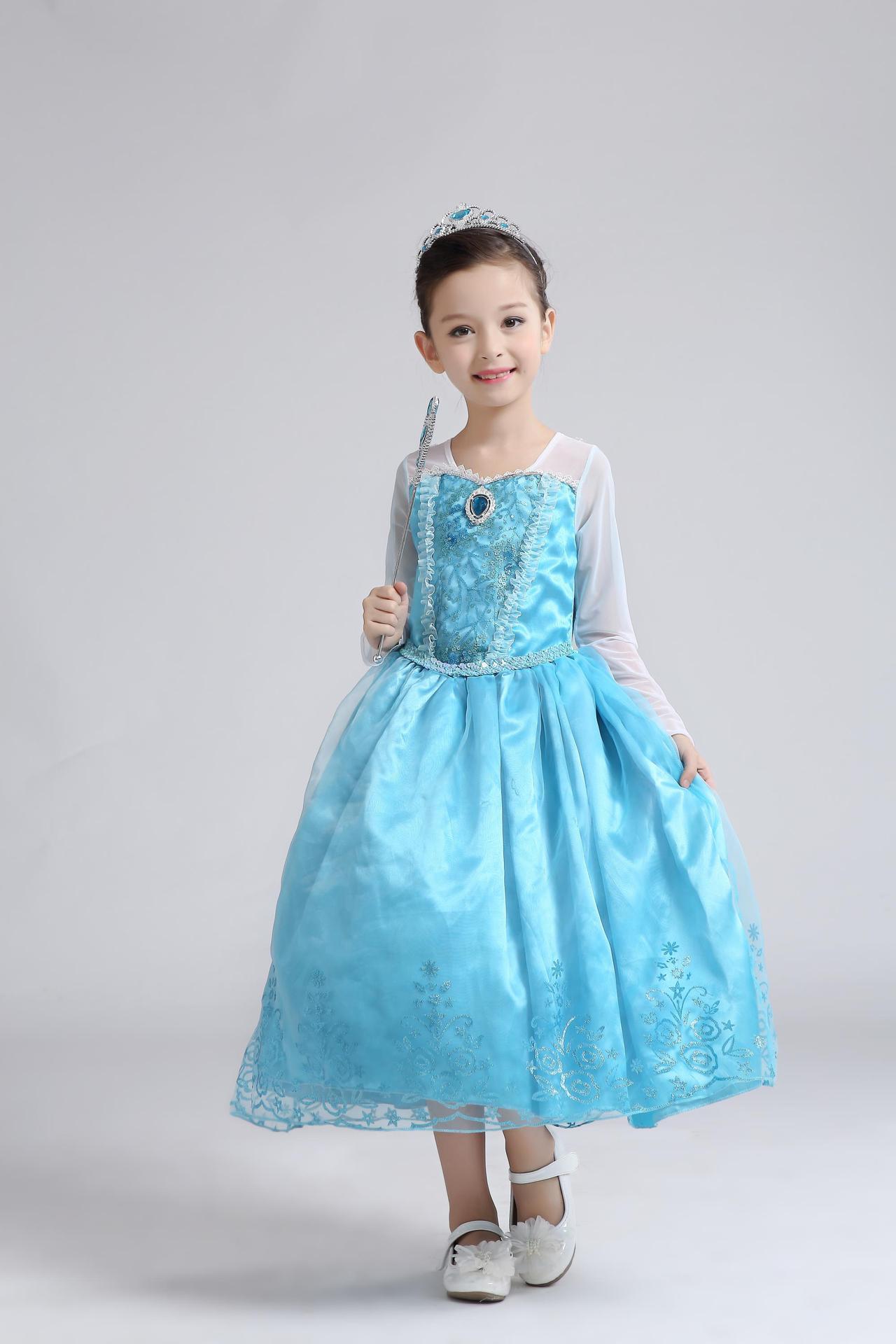 2018 New Arrival Costume Dress Girls Sequin Princess Long Sleeve ...