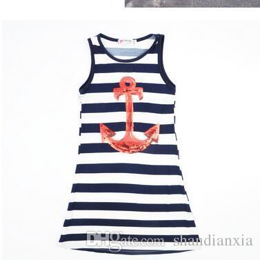 Vaction de verano Vestido de familia de padre e hijo Vestido de anclaje de barco de rayas azules y blancas Vestido de chaleco de traje de madre e hija