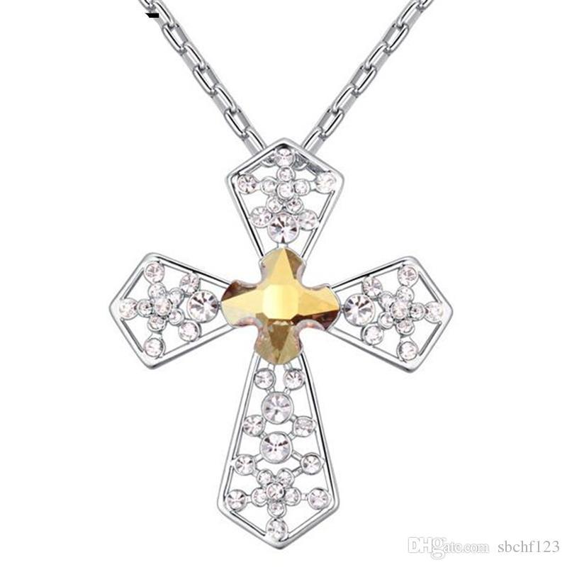 Acheter Cristal De Haute Qualité De Swarovski Elements Colliers Croix  Femmes Mode Vintage Pendentifs Bijoux Collier Christian 23941 De 9,79 € Du  ...