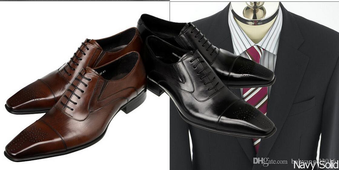 Schwarz Business Schuhe Qualitäts-Mann-Kleid-Schuhe der Männer Oxfords Schuhe echtes Leder Italienische Hochzeitskleid für Männer