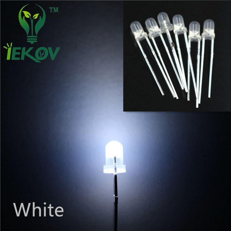 핫 판매 1000PCS / 가방 3MM 확산 백색 LED 라운드 최고 Urtal 밝은 전구 빛 3MM 발광 다이오드 전자 부품 도매