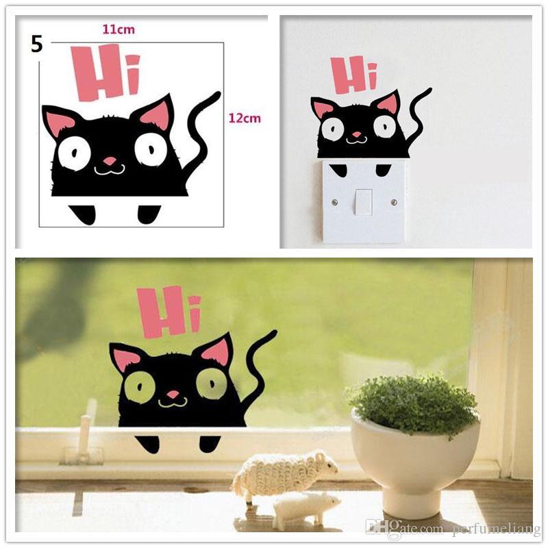 Diy Funny Cat Dog Cartoon Removable Art Vinyl Switch Sticker Home ...