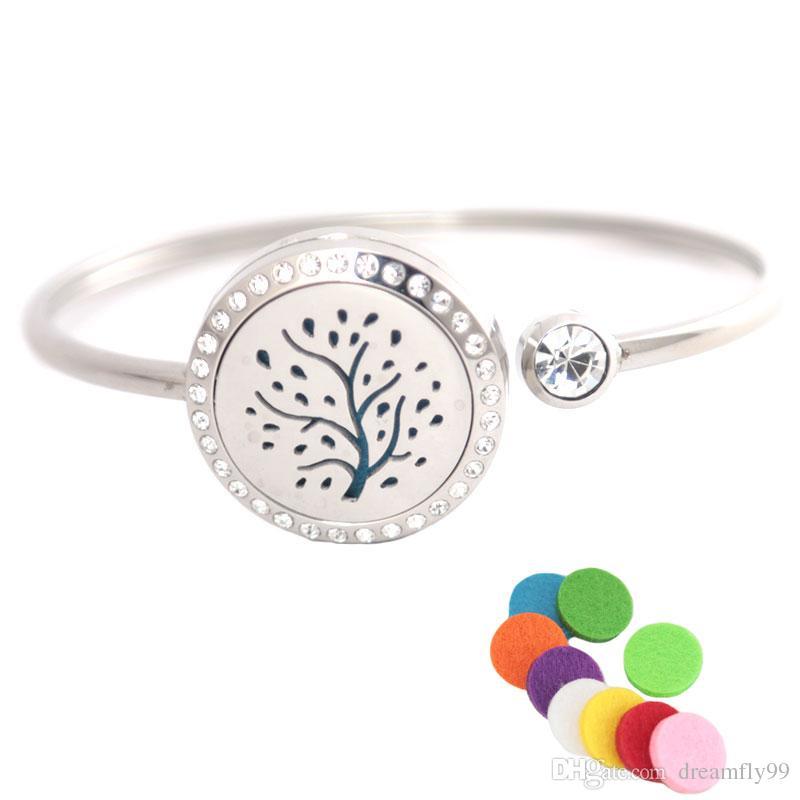 25mm automne arbre cristal en acier inoxydable aromathérapie médaillon bracelet bracelet huile essentielle diffuseur bracelet avec 10pcs feutre