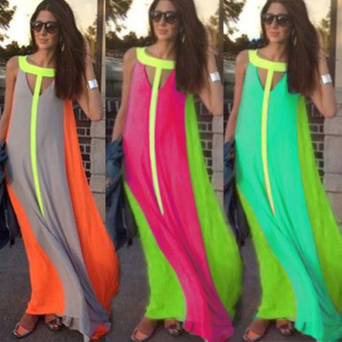 Summer Casual Dresses Bright Color Patchwork Sleeveless Sundress Big Skirt Loose Long Dress Cheap Women Maxi Dress