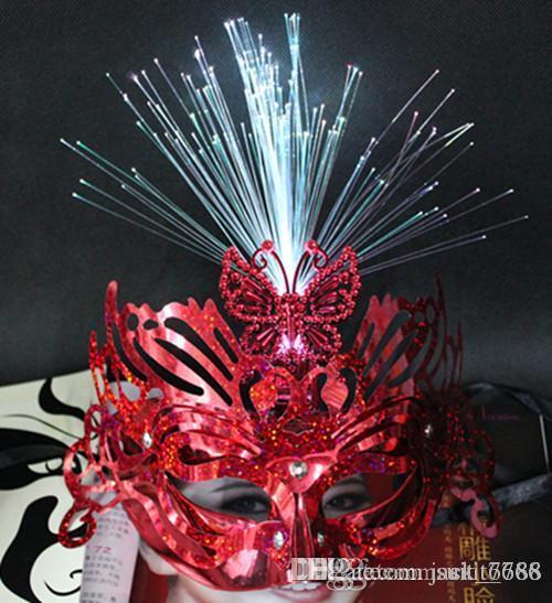 Livraison gratuite usine vente pluie émettant de la lumière émettant des masques de fibre masque mascarade fête papillon princesse stade masque en gros