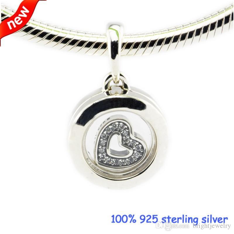 Adatto per Pandora Bracciali galleggiante medaglione perline argento con Clear CZ 2016 nuovo originale 100% 925 gioielli in argento sterling gioielli fai da te