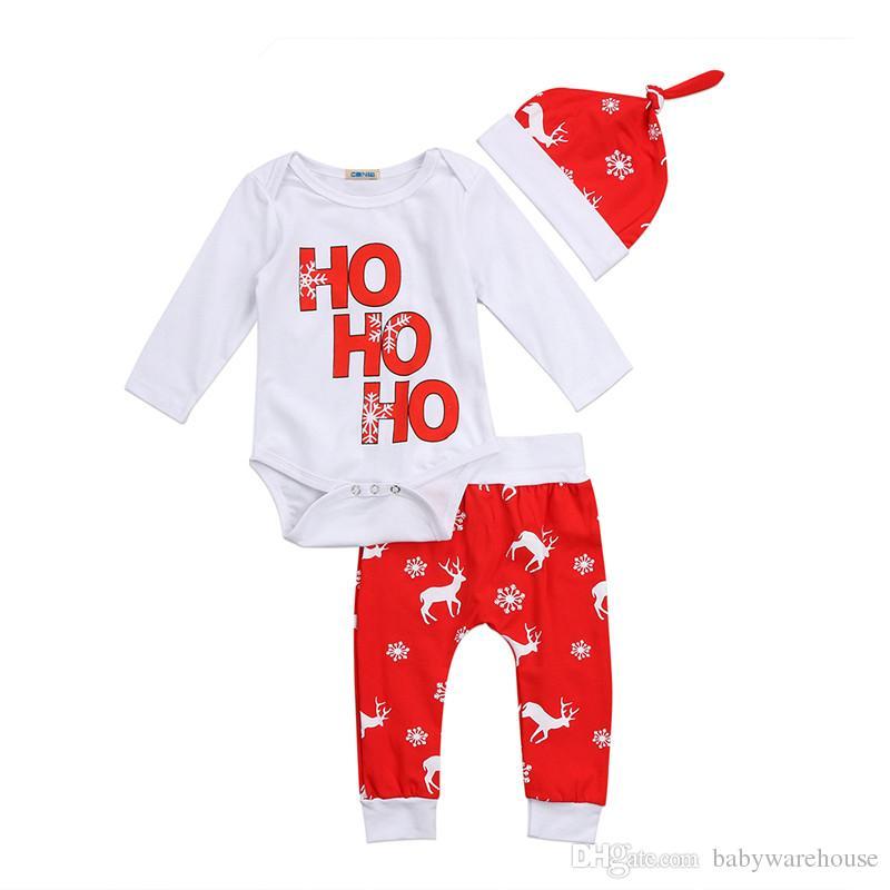 어린이 크리스마스 의류 눈송이 사슴 인쇄 면화 유아 유아 아기 소년 소녀 Romper 바지 모자 3PCS 복장 신생아 옷 세트