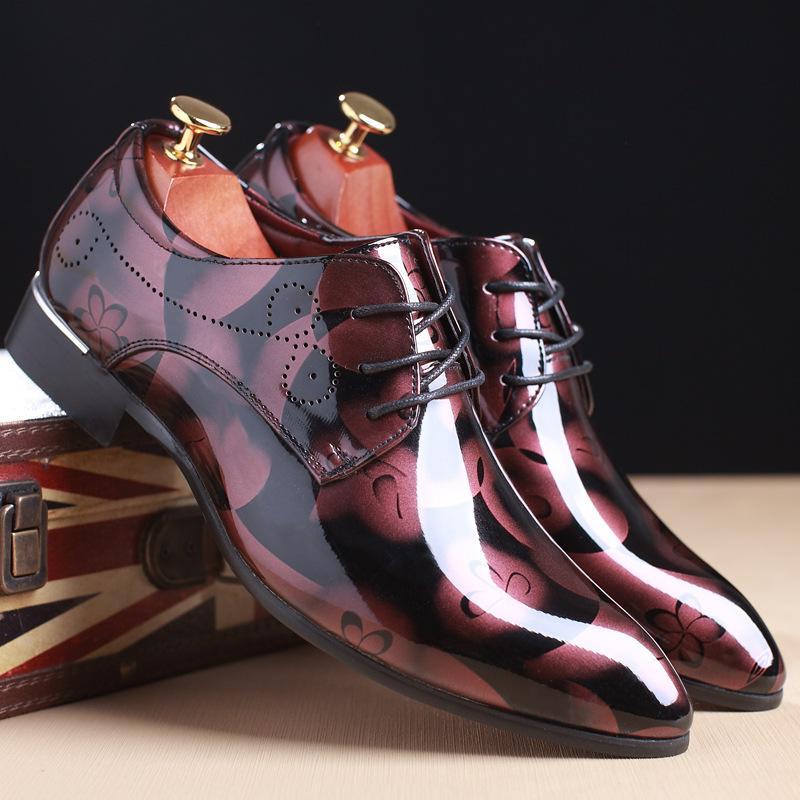 Роскошные Мужские Кожаные Ботинки мужские Туфли Британский Стиль Мужчины Формальные Обувь Острым Носом Бизнес Свадьба Плюс Размер Мода 1.8a