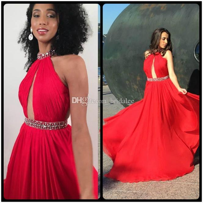 Vestidos de fiesta rojos de moda Vestidos de noche de fiesta de gasa de lujo 2016 acanalada una línea vestido barato para mujeres