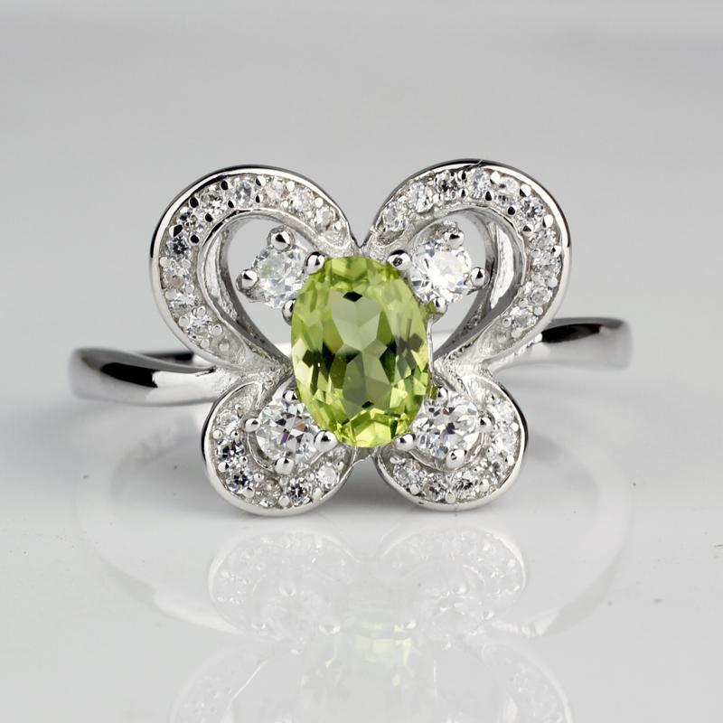 Ювелирные Изделия Настоящий Зеленый Перидот Стерлингового Серебра 925 Кольцо Женщины 5x7 мм Овальный Кристалл Драгоценный Камень Подарок На Годовщину R082