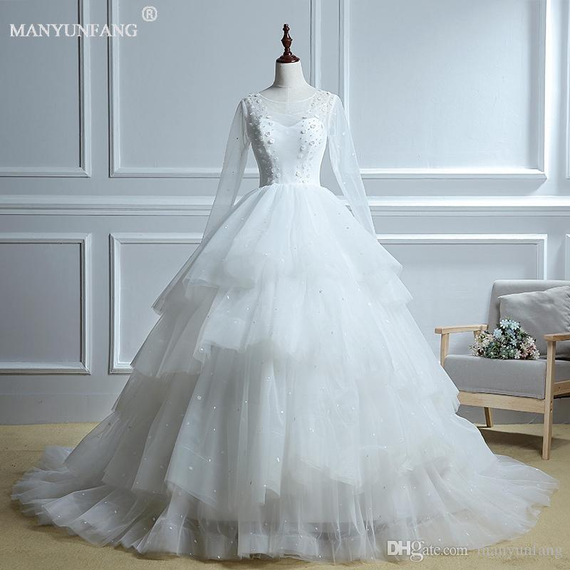 2020 Manyunfang Sheer Long Sleeve Wedding Dresses Scoop Neck Buttons Back Lace Appliques Satin Ball Gown Bridal Gowns Beach Wedding Gowns