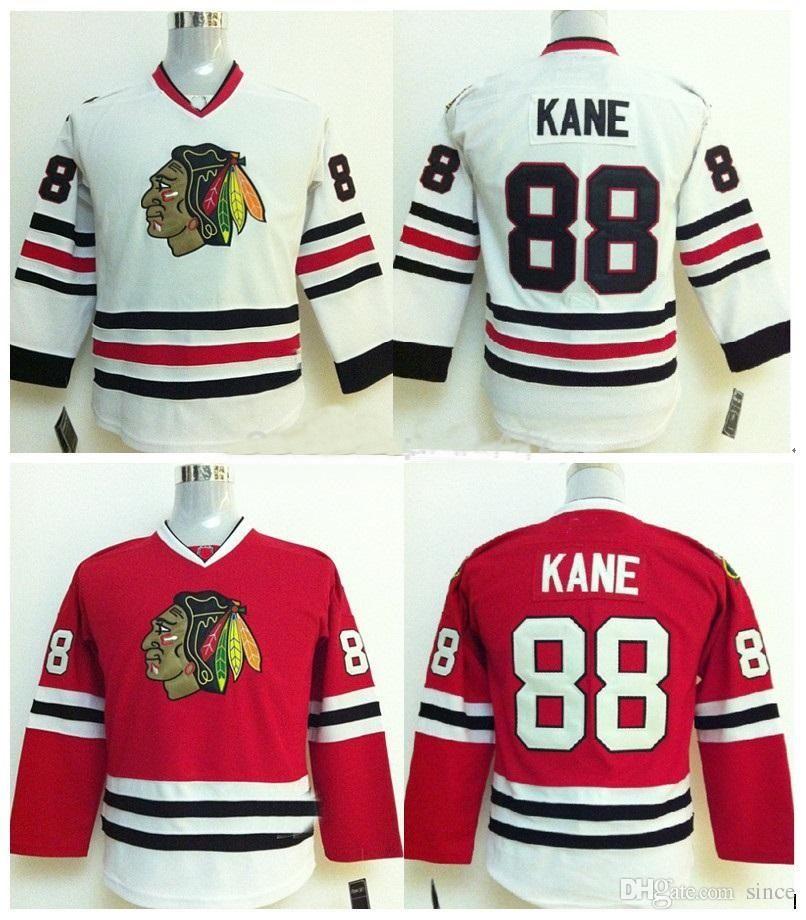 2016 Nouveau 88 Patrick Kane Chicago Blackhawks Jeune Jersey Blanc Away 100% Cousu Blackhawk Maillots De Hockey Shirt Enfants Chemise