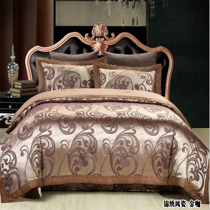 مبيعات كبيرة بالجملة الحرير القطن رشاقته مجموعات الفراش الملكة الملك ملاءة سرير حجم / غطاء لحاف / وسادة 4PCS / مجموعة الشحن مجانا DHL