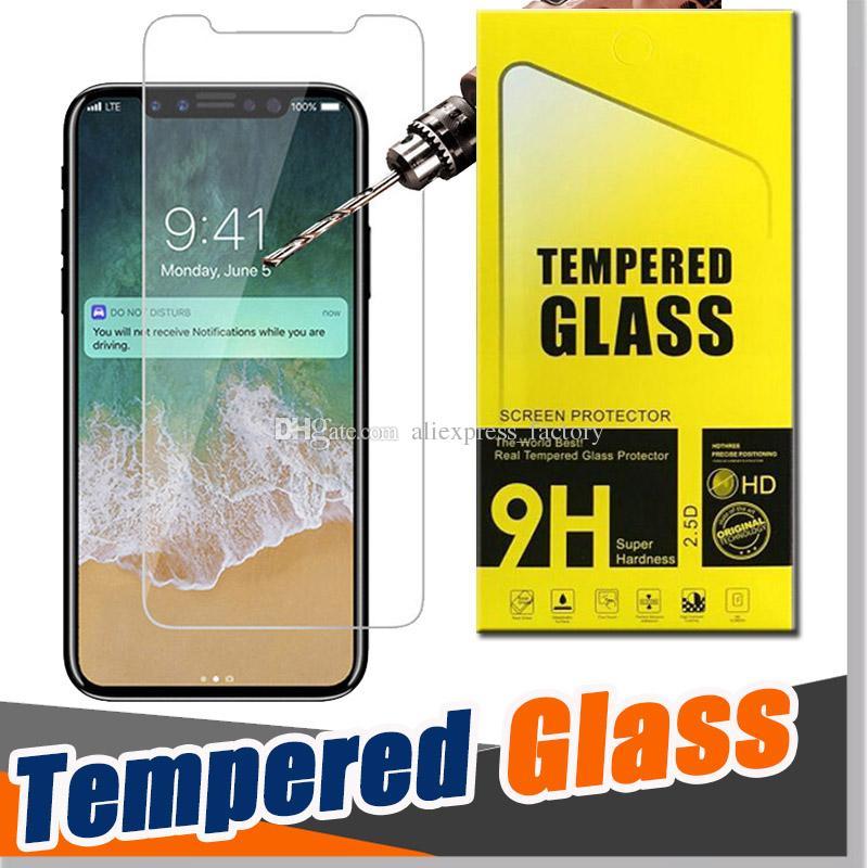 9H Clear Screen Outor Protector Odporność Premium Shield 2.5D Harted Glass Scratch Guard dla iPhone 13 Pro Max 12 mini 11 XS XR X 8 7 6 6S plus se z pakietem